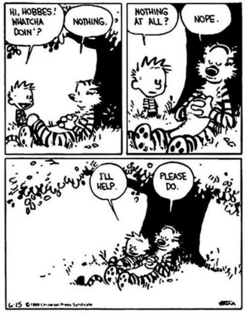 calvin hobbes doing nothing